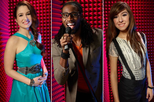 The Voice contestants Audra McLaughlin, Delvin Choice, and Christina Grimmie