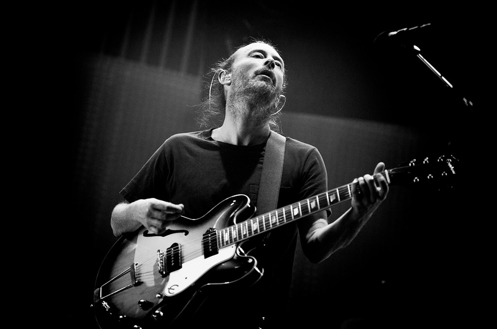 Thom Yorke of Radiohead performs on stage at Ziggo Dome on Oct.14, 2012 in Amsterdam, Netherlands.
