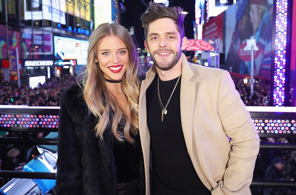 Lauren Akins and Thomas Rhett at Times Square on Dec. 31, 2016 in New York City.