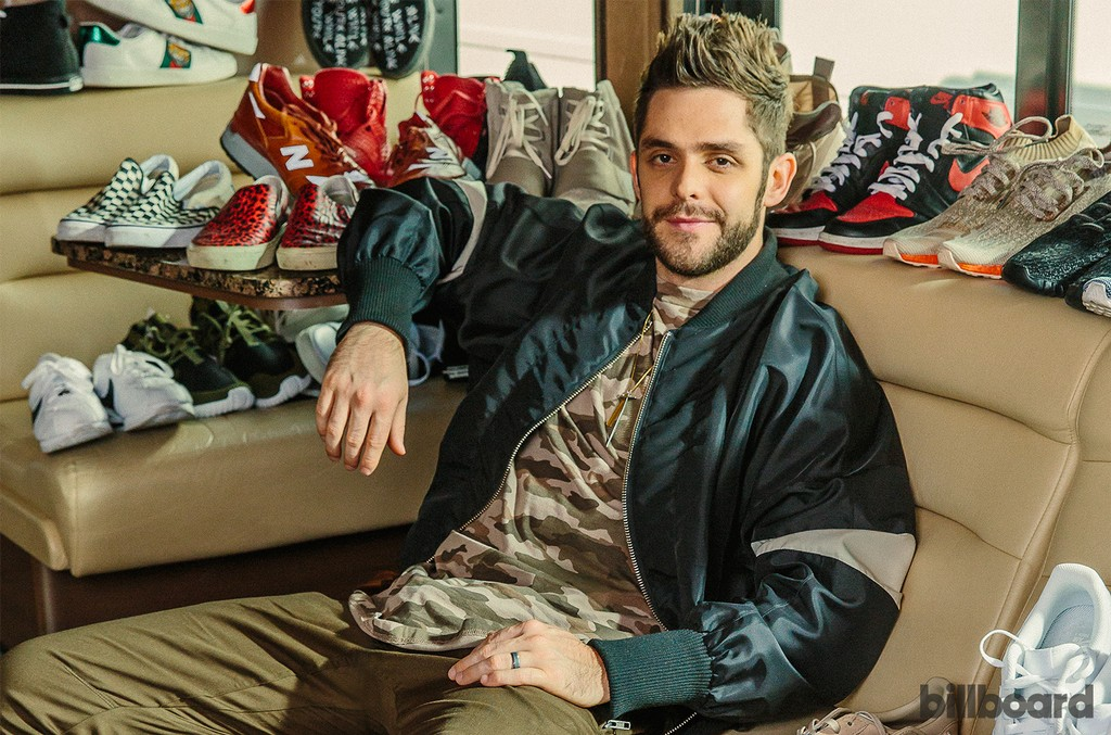 Thomas Rhett photographed March 3 on his tour bus in DeKalb, Ill.