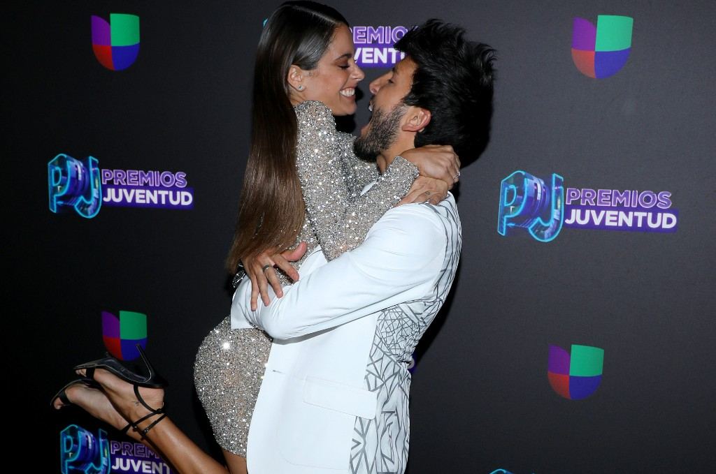 Tini and Sebastian Yatra attend Premios Juventud 2019 at Watsco Center on July 18, 2019 in Coral Gables, Florida.