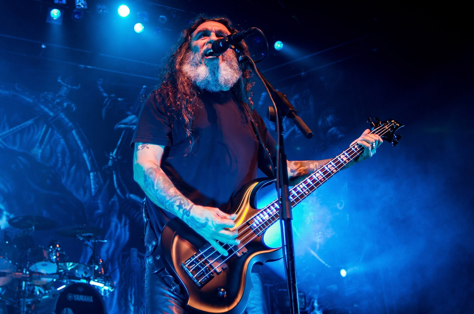 Tom Araya of Slayer performs at The Warfield on March 23, 2016 in San Francisco.