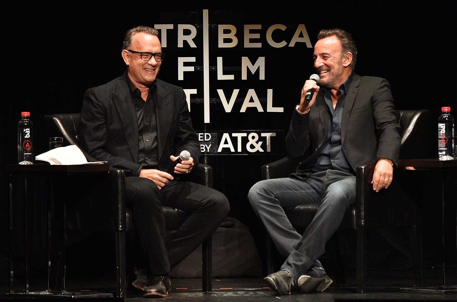 Tom Hanks and Bruce Springsteen speak on stage during Tribeca Talks: Bruce Springsteen And Tom Hanks - 2017 Tribeca Film Festival on April 28, 2017 in New York City.