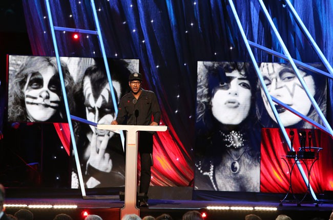 Tom Morello presents Kiss at the 2014 Rock And Roll Hall Of Fame Induction Ceremony