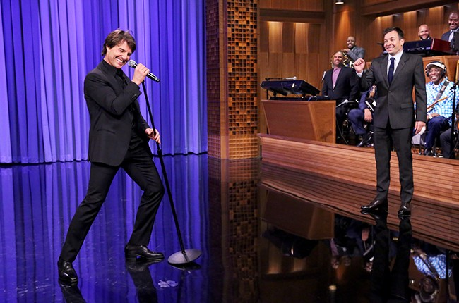Tom Cruise performs in a lip sync battle with Jimmy on The Tonight Show Starring Jimmy Fallon? on July 27, 2015.