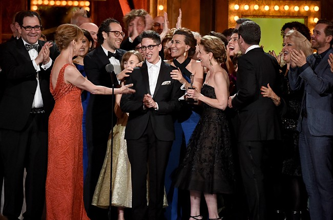 """Alison Bechdel with cast and creative of """"Fun Home"""""""