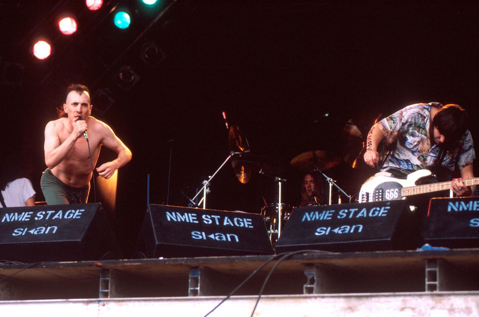 Tool performs on stage at Glastonbury Festival.