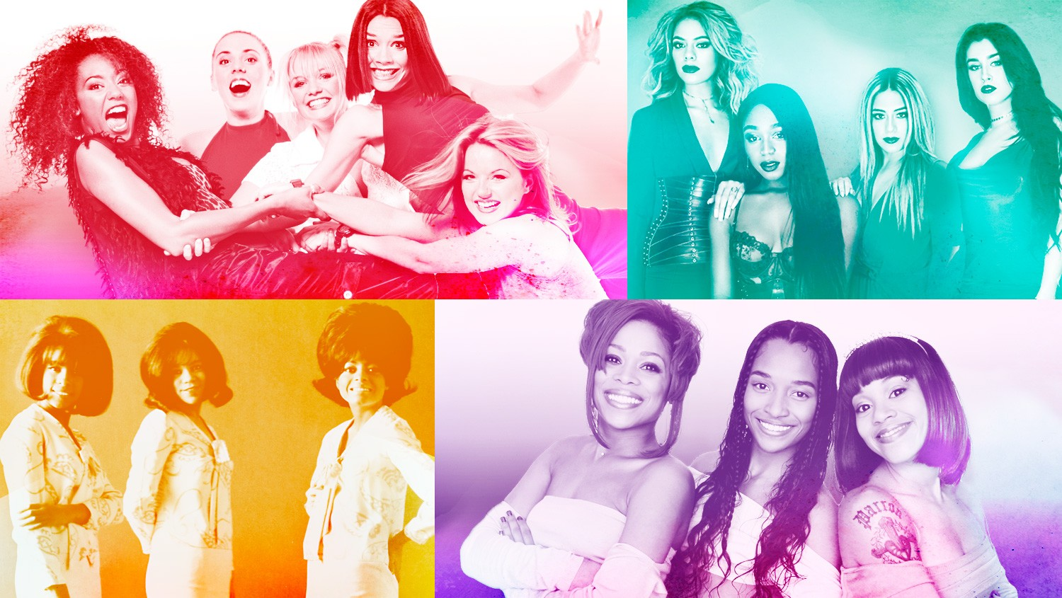 (Clockwise from top left) Spice Girls, Fifth Harmony, TLC & The Supremes