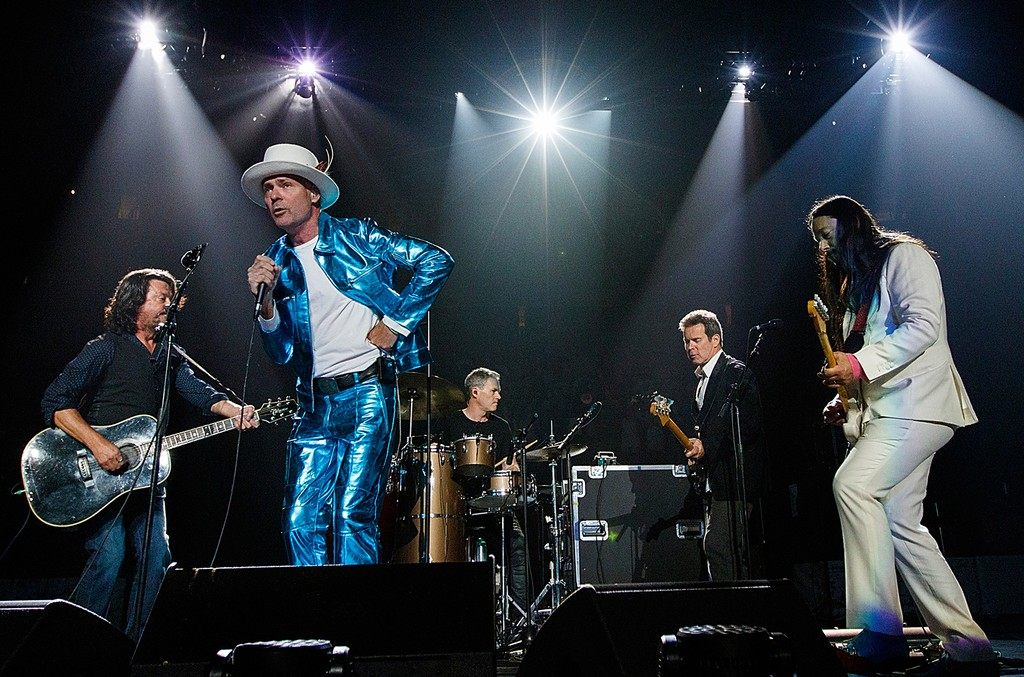 The Tragically Hip perform during their 'Man Machine Poem Tour' at Rogers Arena on July 24, 2016 in Vancouver, Canada.