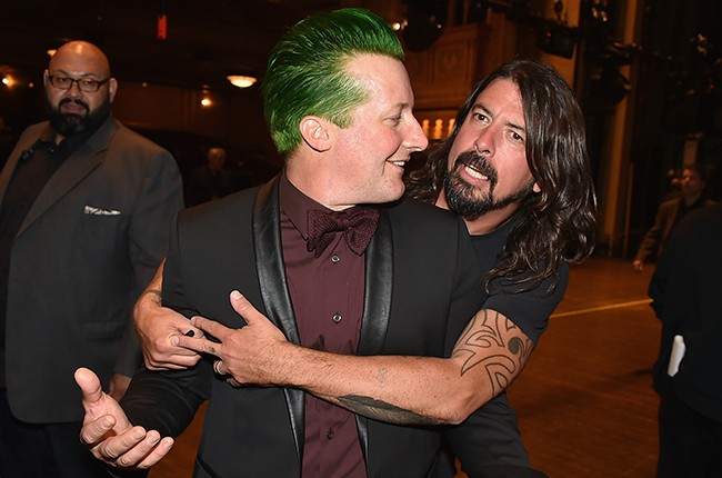 Tre Cool and Dave Grohl attend the 30th Annual Rock And Roll Hall Of Fame Induction Ceremony