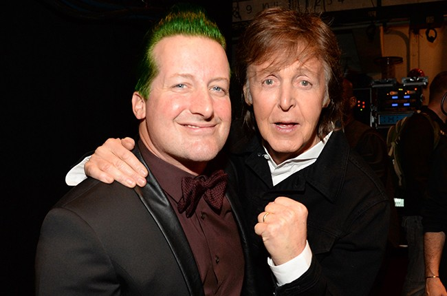 Tre Cool and Paul McCartney attend the 30th Annual Rock And Roll Hall Of Fame Induction Ceremony