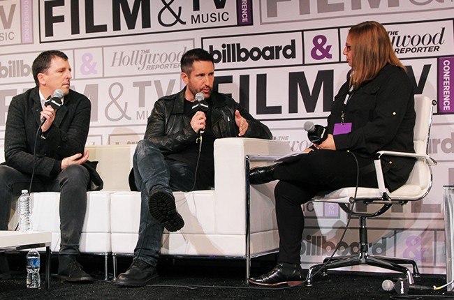Atticus Ross, composer, and Trent Reznor, composer, with Shirley Halperin