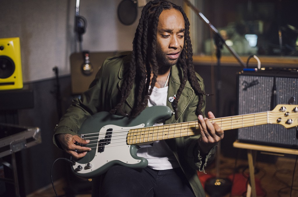 Ty Dolla $ign plays a Fender American Professional Precision Bass.