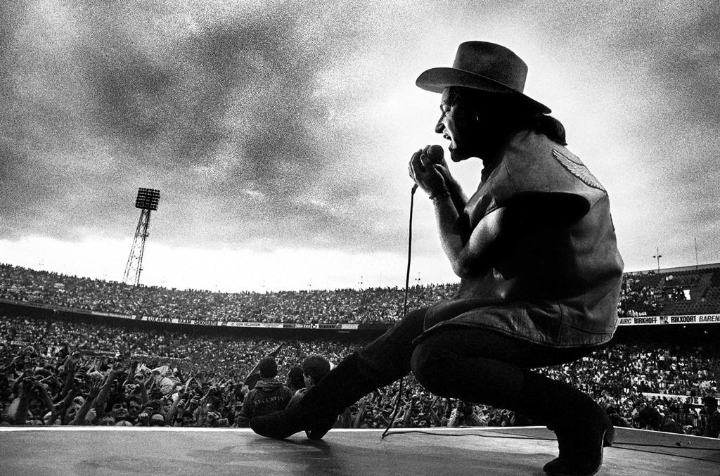 Bono of U2 performs during The Joshua Tree tour.