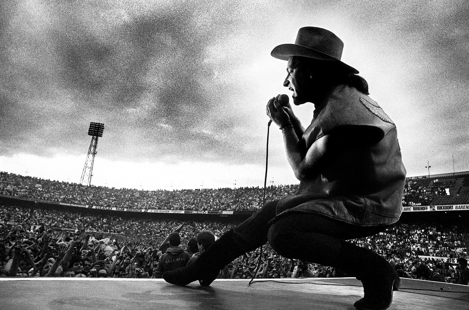 Bono of U2 performs during The Joshua Tree tour.