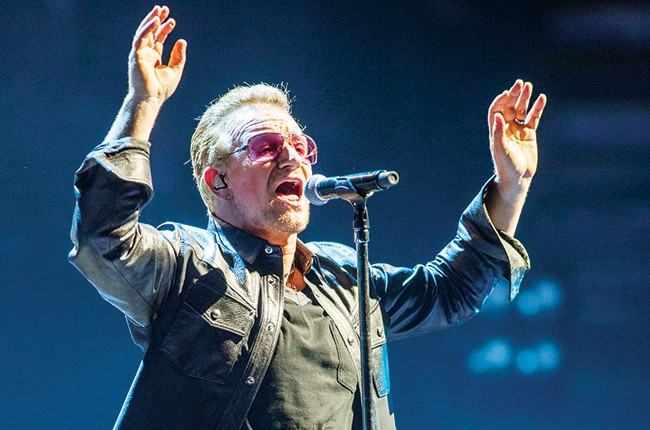Bono of U2 at the Forum in Inglewood, CA on May 26, 2015.