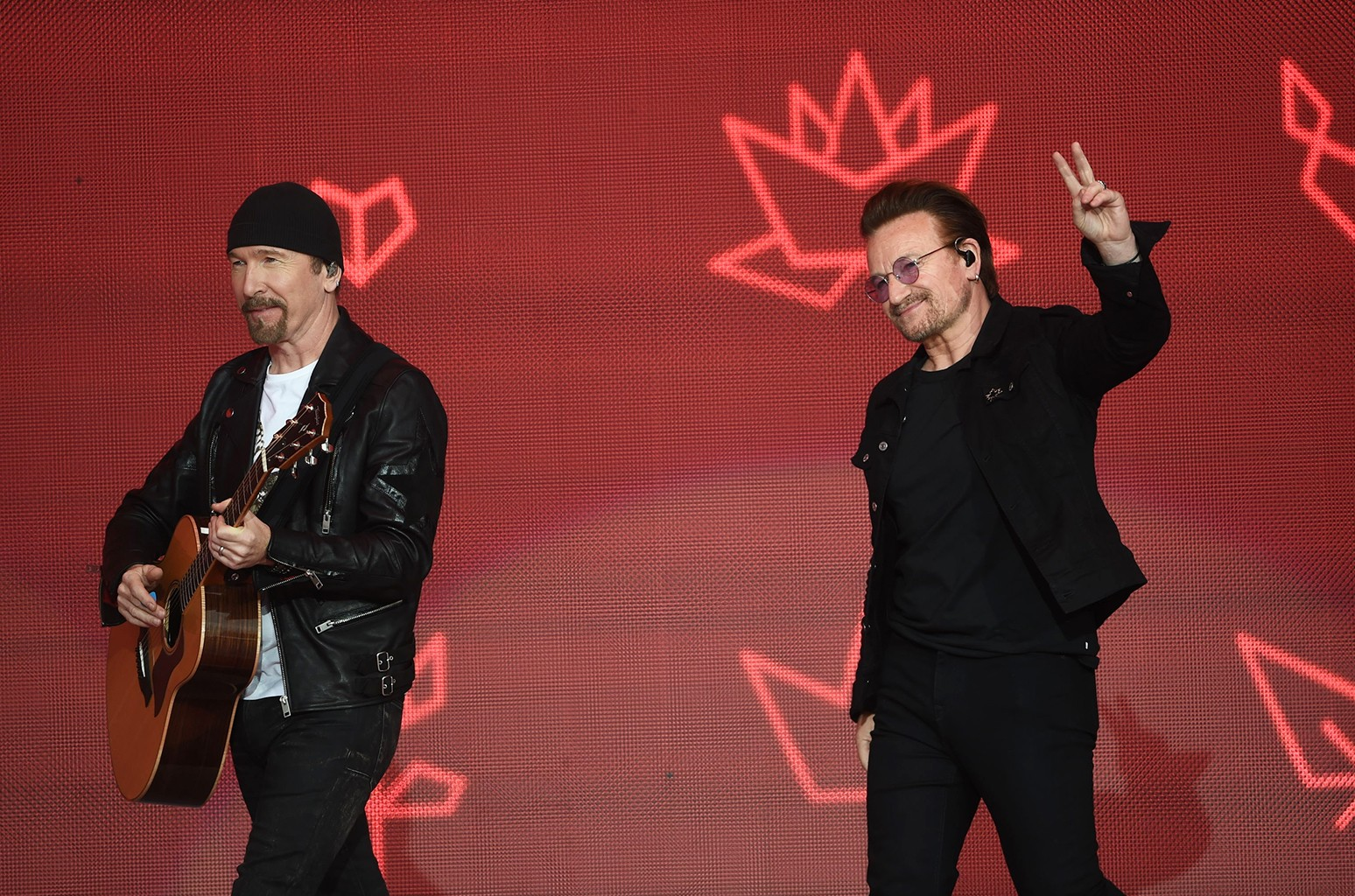 Bono and The Edge of U2 on stage prior to meeting the Prince of Wales during Canada Day Celebrations on Parliament Hill, Ottawa.