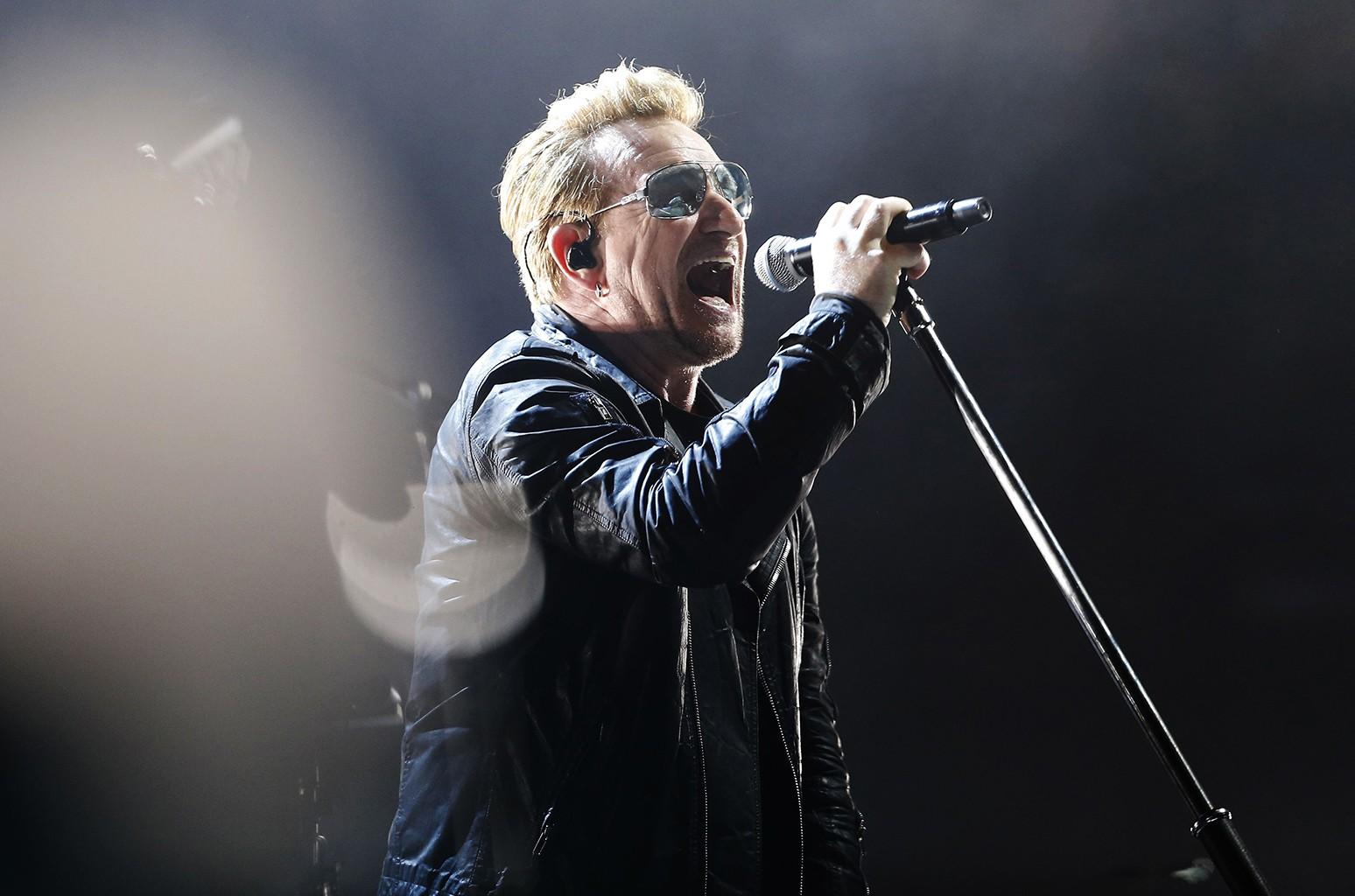 Bono of U2 performs in Paris