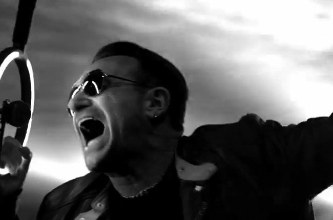 Bono in U2's Invisible ad during Super Bowl XLVIII for Red
