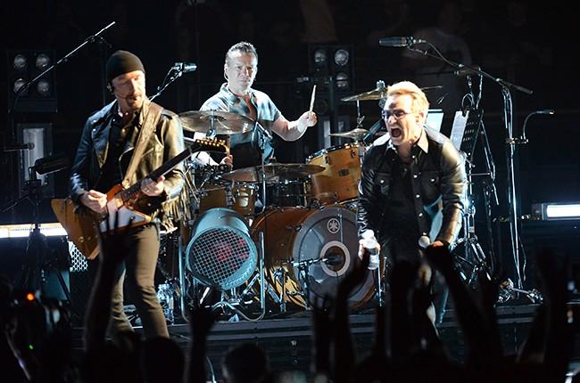 The Edge, Larry Mullen Jr and Bono of U2