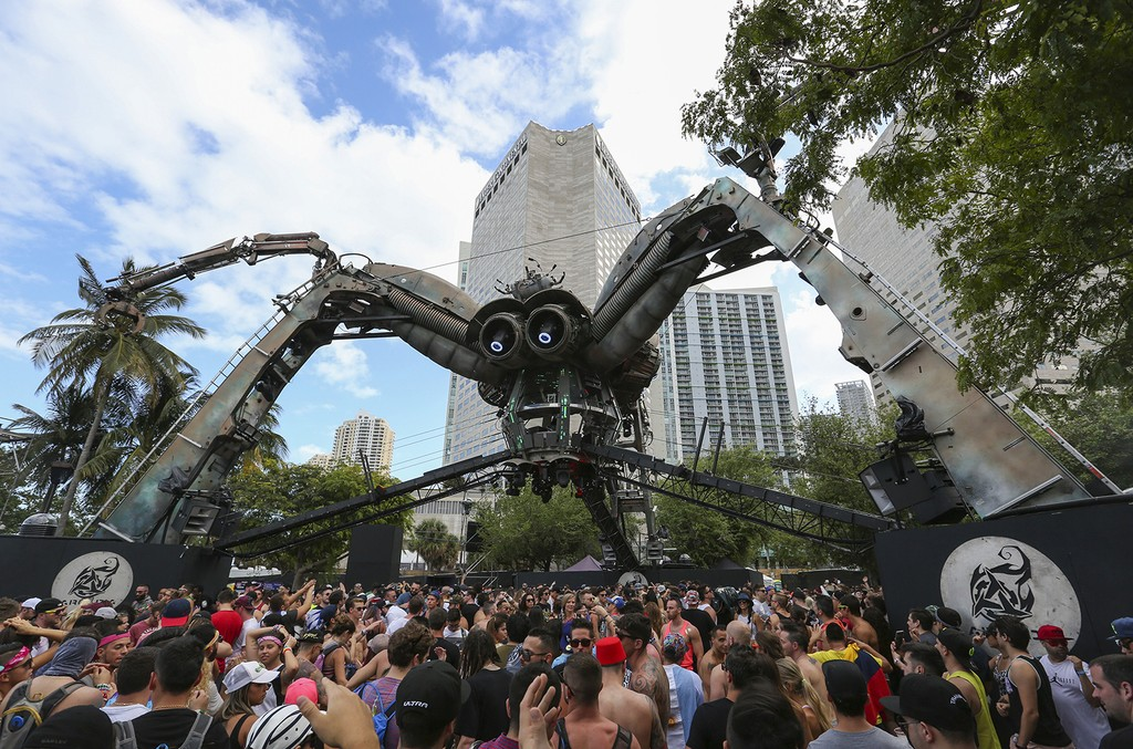 Guests dance at the Arcadia Spider stage during the third day of Ultra Music Festival on Sunday, March 26, 2017 in downtown Miami, Fla. (Matias J. Ocner/Miami Herald/TNS via Getty Images)
