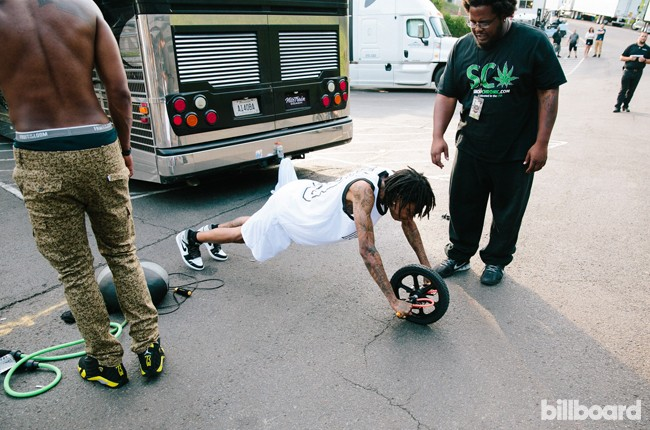Wiz Khalifa backstage at the Under the Influence Tour