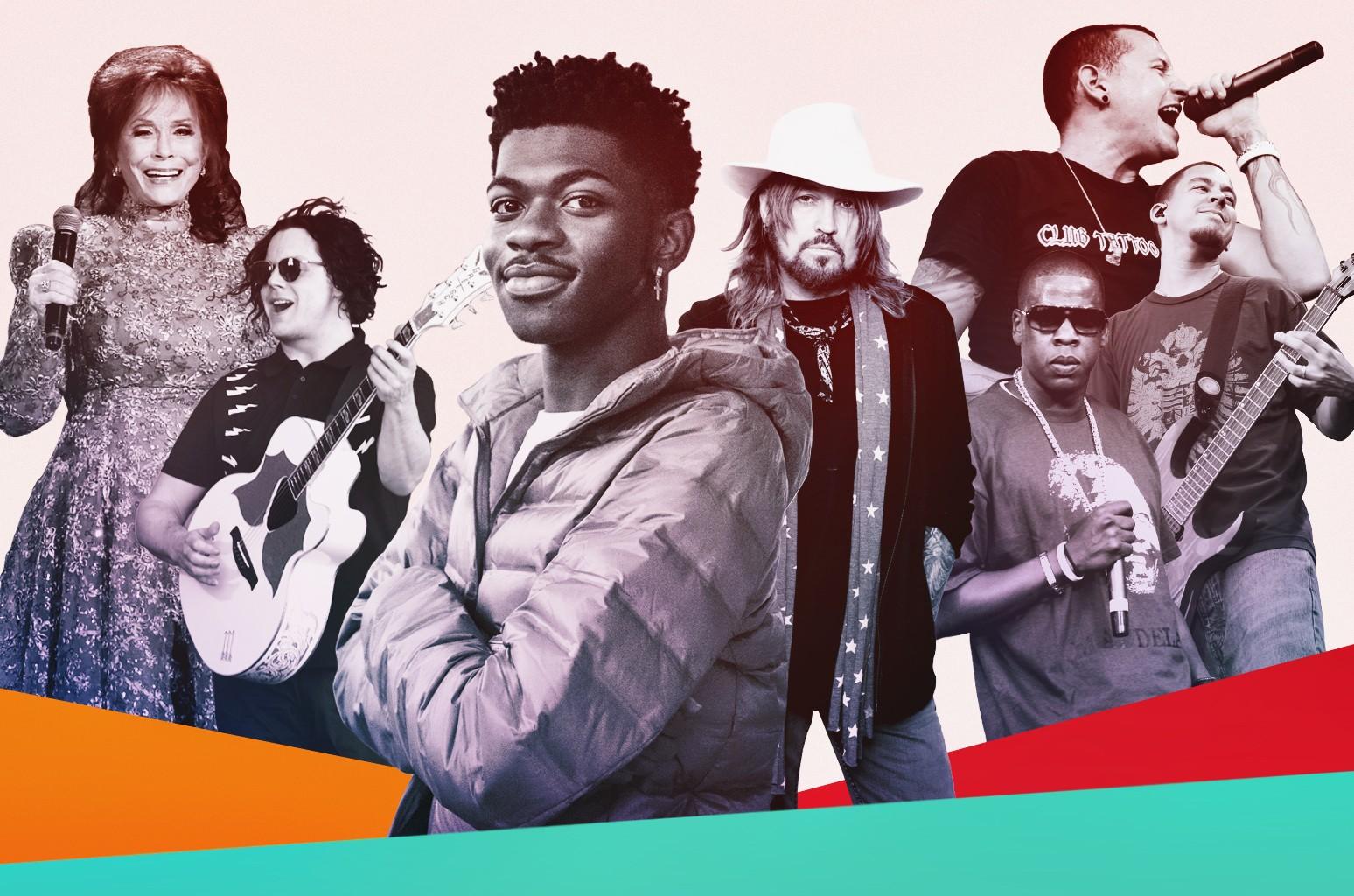 Loretta Lynn. Jack White, Lil Nas X, Billy Ray Cyrus, Jay Z, Chester Bennington and Mike Shinoda of Linkin Park