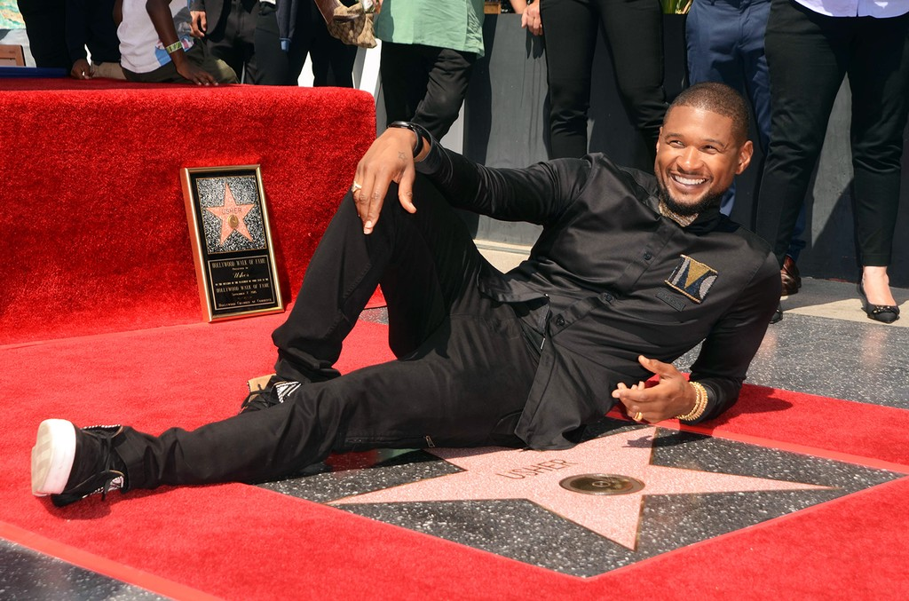 Usher with his star on the Hollywood Walk of Fame