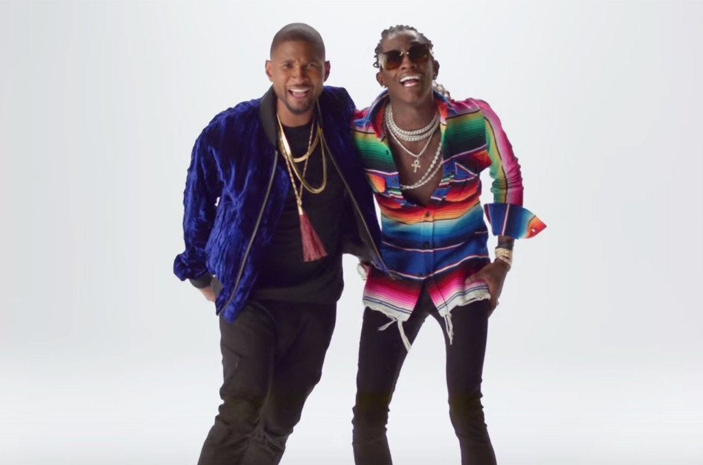 "Usher and Young Thug in the video for ""No Limit."""