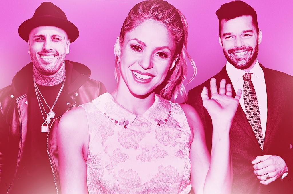 From left: Nicky Jam, Shakira & Ricky Martin