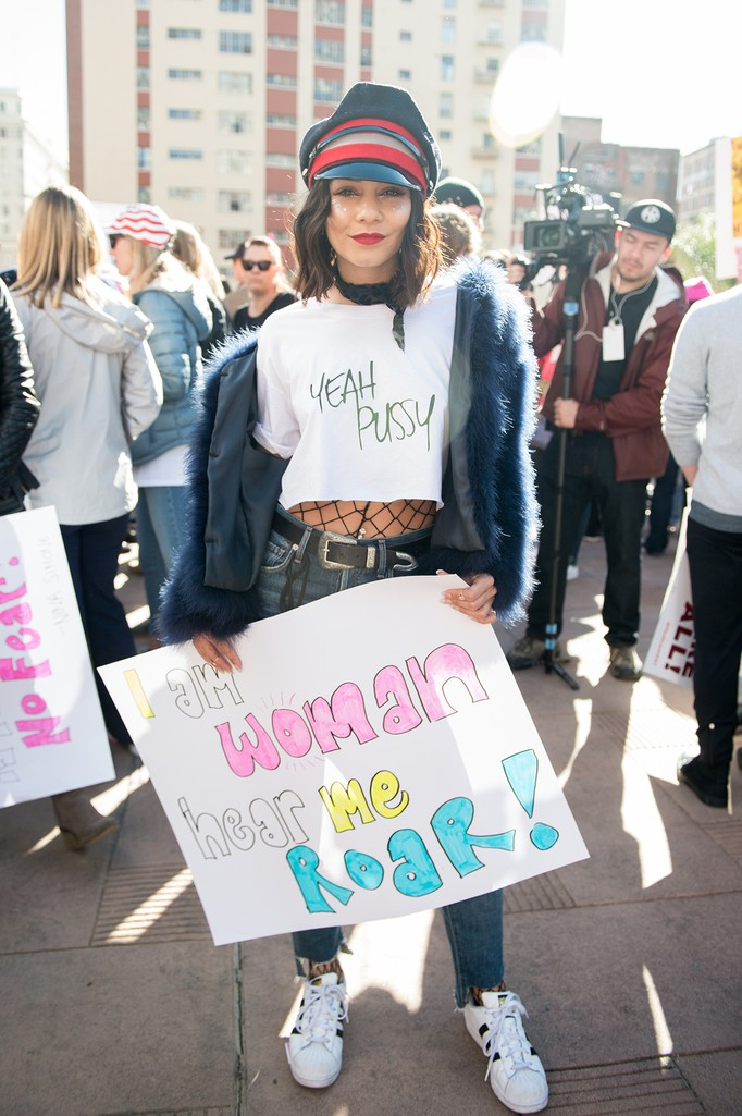 Vanessa Hudgens attends the women's march in Los Angeles on January 21, 2017 in Los Angeles, California.  (Photo by Emma McIntyre/Getty Images
