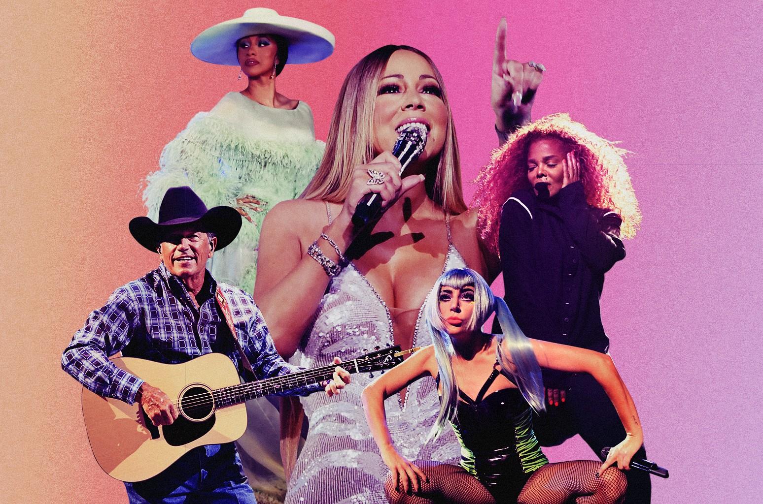 Clockwise from top left: Cardi B, Mariah Carey, Janet Jackson, Lady Gaga and George Strait