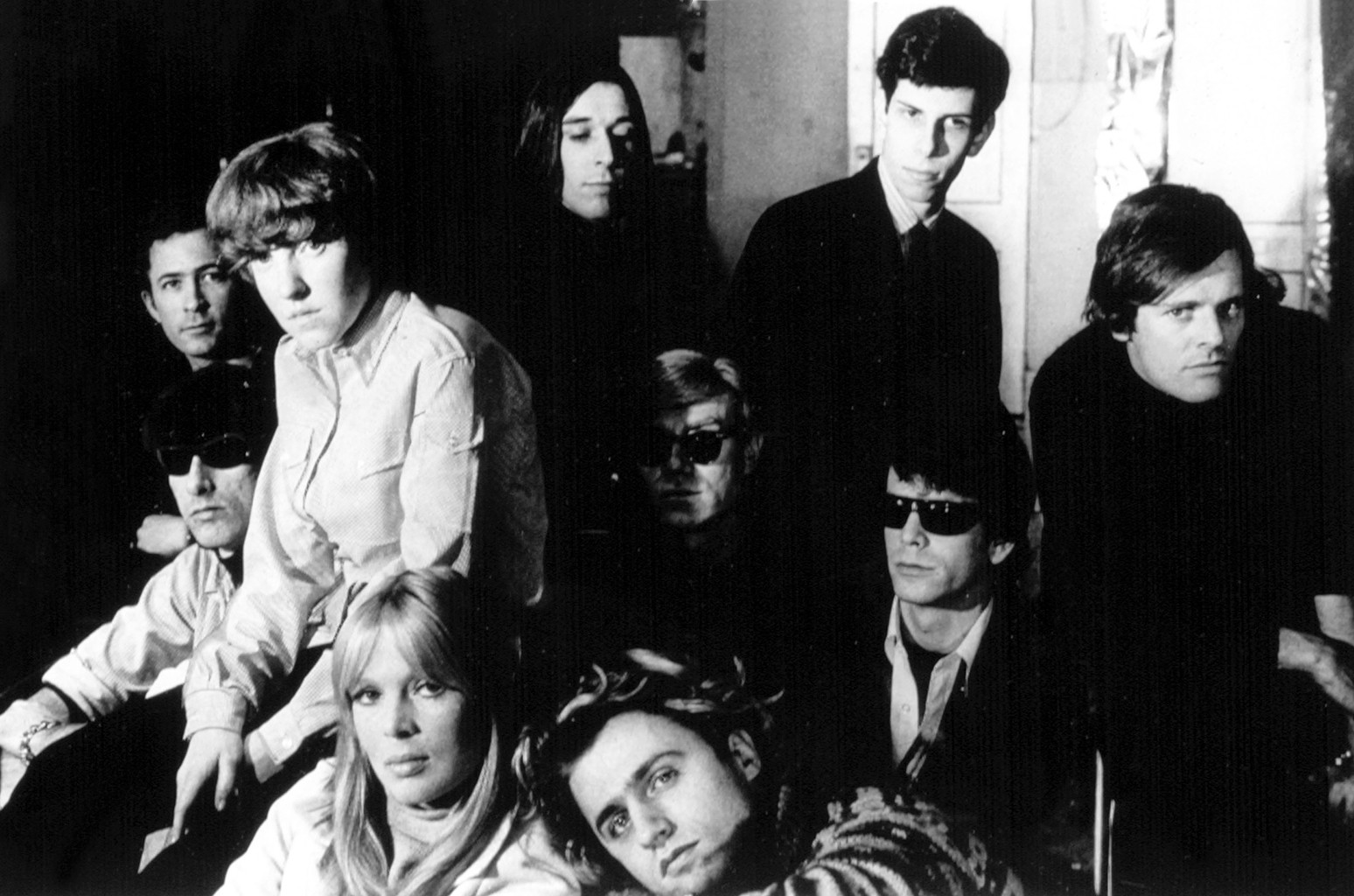 The Velvet Underground, Nico, Andy Warhol, Paul Morrisey and Gerard Melanga photographed circa 1966.