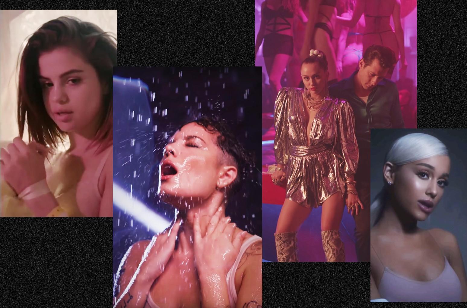 Selena Gomezm Halsey, Miley Cyrus and Mark Ronson and Ariana Grande