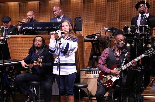 Villanova Pep Band piccolo player Roxanne Chalifoux performs with The Roots on The Tonight Show Starring Jimmy Fallon