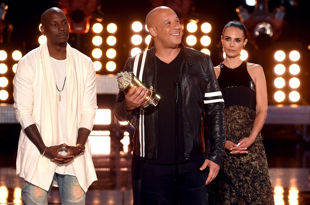 (L-R) Tyrese Gibson, Vin Diesel and Jordana Brewster accept the MTV Generation Award for 'The Fast and the Furious' franchise onstage during the 2017 MTV Movie and TV Awards at The Shrine Auditorium on May 7, 2017 in Los Angeles.