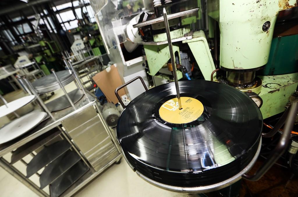 A vinyl record pressing plant