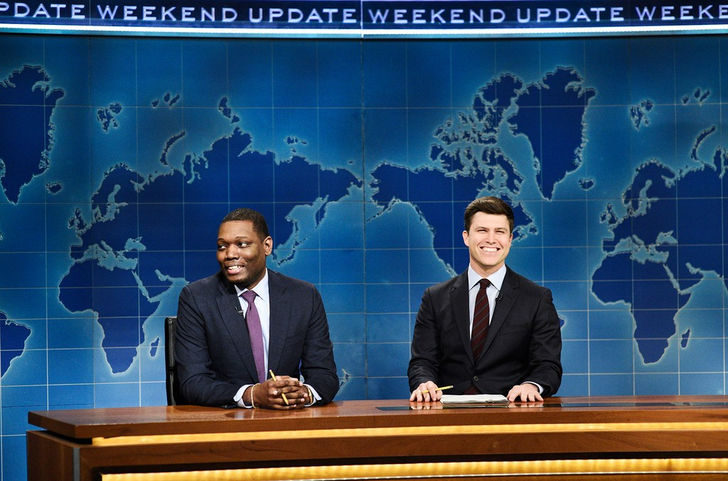 "Michael Che and anchor Colin Jost during ""Weekend Update"" on Saturday Night Live on Dec. 8, 2018."