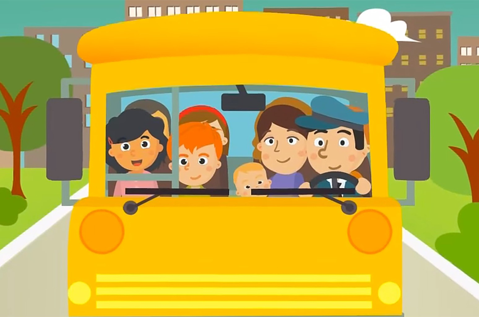 """Video still for BusSongs.com's """"The Wheels On The Bus Go Round and Round."""""""