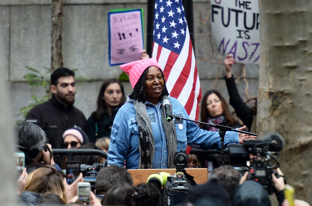 Whoopi Goldberg speaks during the 2017 Women's March - Sister March in New York on January 21, 2017 in New York City.  (Photo by Andrew Toth/WireImage