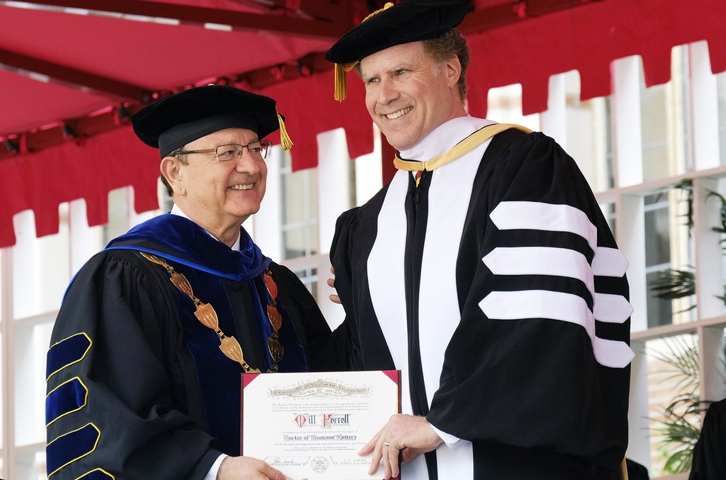President of the University of Southern California C.L. Max Nikias presents Will Ferrell with an honorary doctorate degree during USC's 134th commencement ceremony in Los Angeles on May 12, 2017.