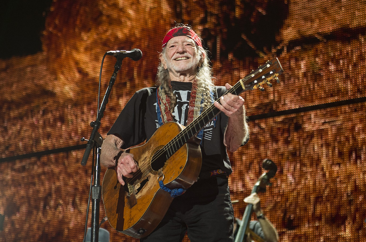 Willie Nelson performs at Farm Aid at Jiffy Lube Live in Bristow, Virginia on Sept. 17, 2016.