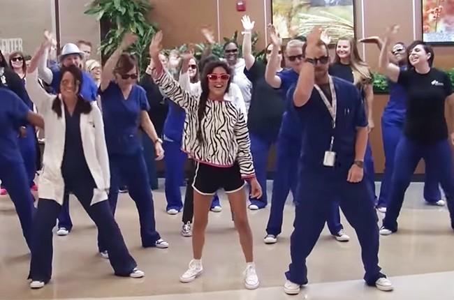 Willis-Knighton Cancer Center Proton Radiation Team Surprises Sophia With The Whip Nae Nae Flashmob