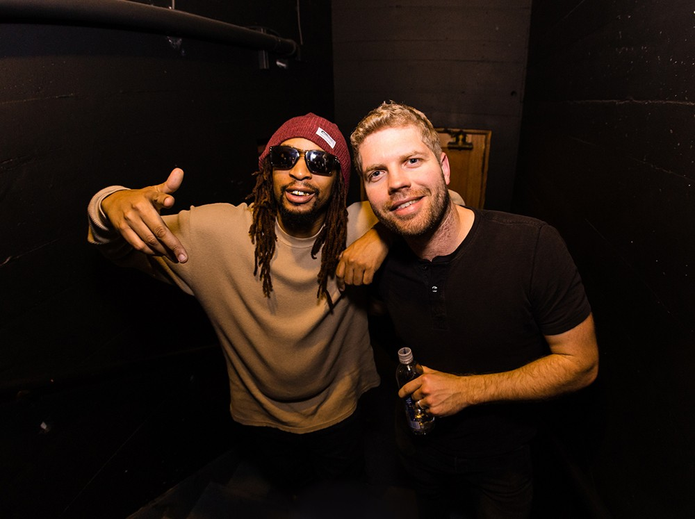 Lil Jon and Morgan Page backstage at Billboard Winterfest at Park City Live! on Jan 27, 2016.