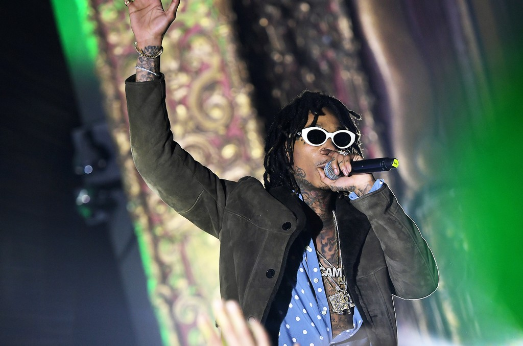 Wiz Khalifa performs onstage during the Spotify Best New Artist Nominees celebration at Belasco Theatre in Los Angeles
