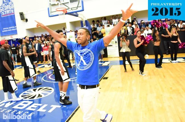 Ludacris atlanta basketball game, philanthropy, 2015