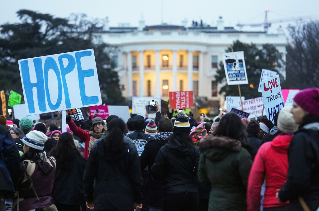 Protesters gather outside the White House at the finish of the Women's March on Washington on Jan. 21, 2017 in Washington, DC.