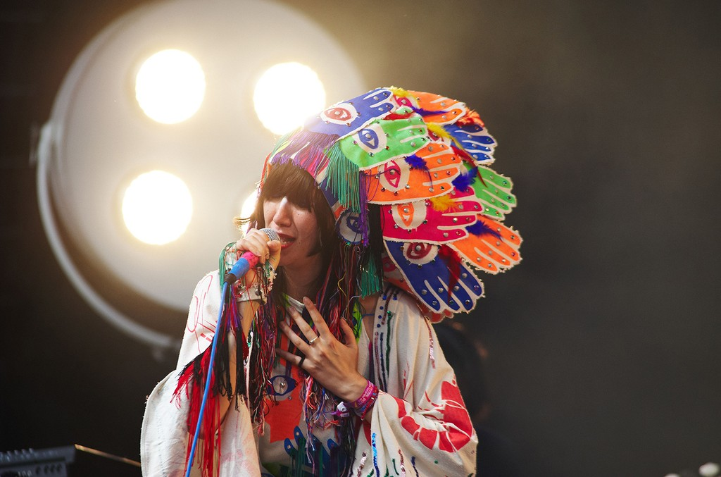 Karen O of Yeah Yeah Yeahs performs on stage on the last day of Glastonbury Festival at Worthy Farm on June 28, 2009 in Glastonbury, England.