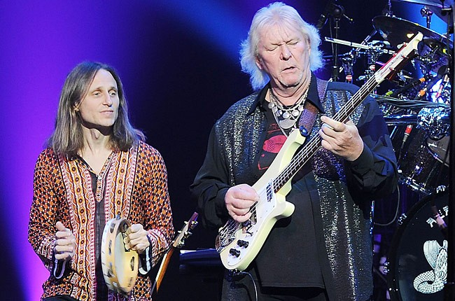 Jon Davison and bass guitarist Chris Squire of musical group Yes, performs at the Pearl Theatre at the Palms Hotel and Casino on August 19, 2012 in Las Vegas, Nevada.