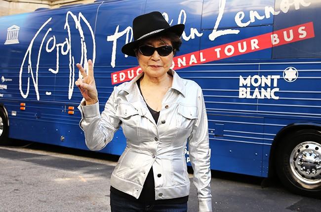 Yoko Ono at the John Lennon Educational Tour Bus Event